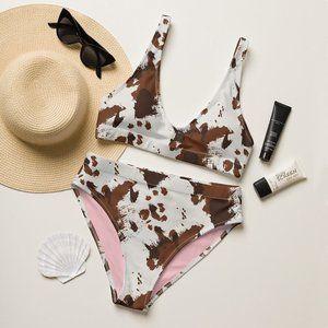 Western Tri Cow Print High-Waisted Bikini